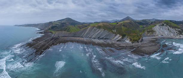 Zumaia and Deba flysch geological strata layers drone aerial view panorama Zumaia and Deba flysch geological strata layers drone aerial view panorama, Basque Country rocky coastline stock pictures, royalty-free photos & images