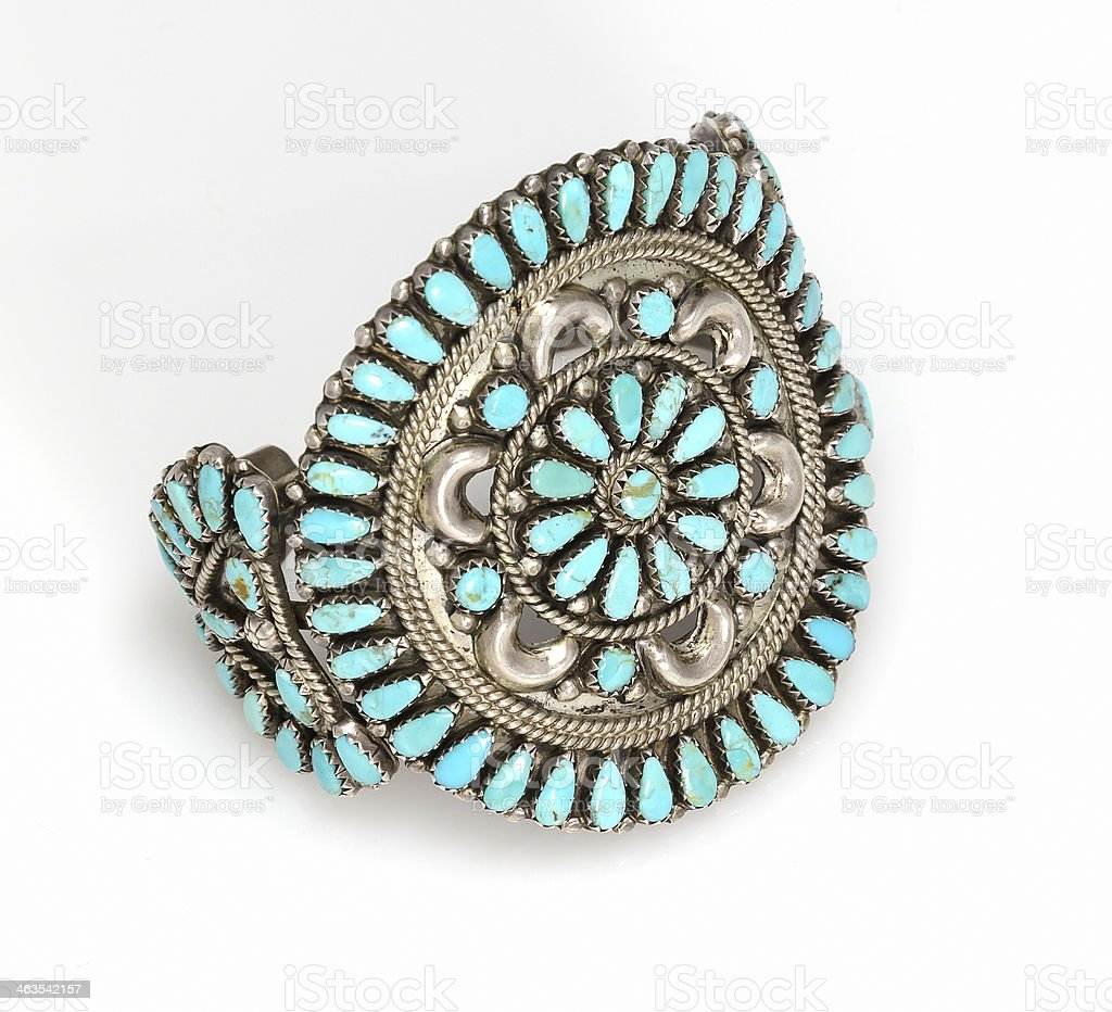 Zuni Turquoise And Silver Cluster Cuff Bracelet Stock Photo More