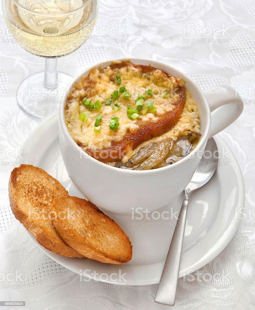 zupa cebulowa stock photo