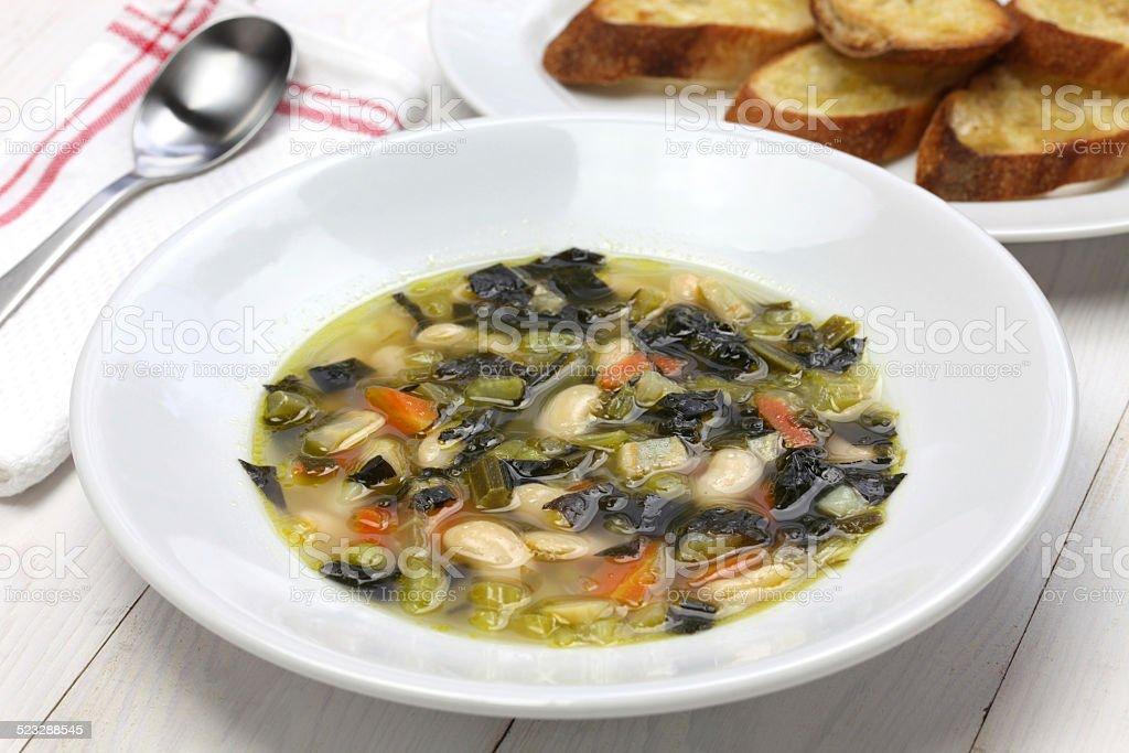 zuppa di cavolo nero, black kale soup, italian food stock photo