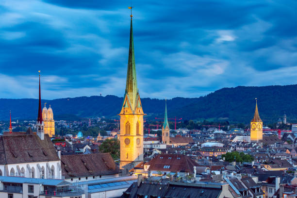 Zurich. Aerial view of the city in night lighting. stock photo