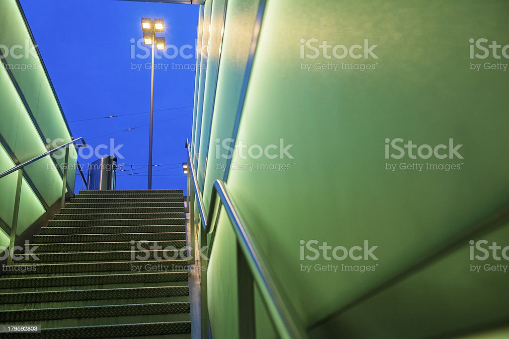 Zurich Architecture Background of Futuristic Stairs at Night royalty-free stock photo