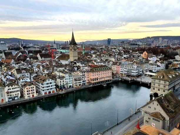 Zurich at dusk stock photo