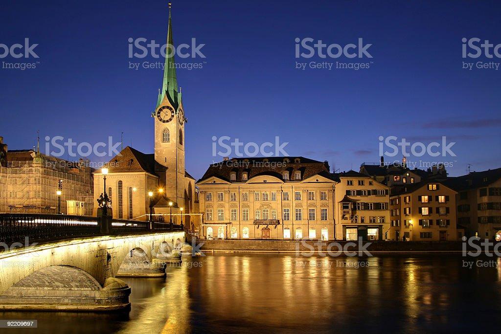 Zurich at twilight, Switzerland  Arch Bridge Stock Photo
