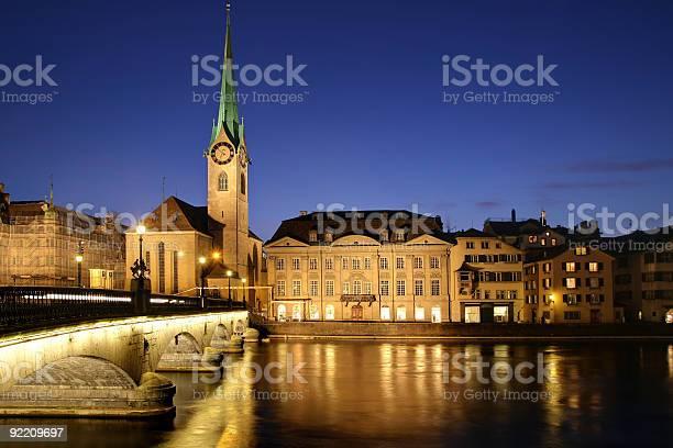 Zurich At Twilight Switzerland Stock Photo - Download Image Now