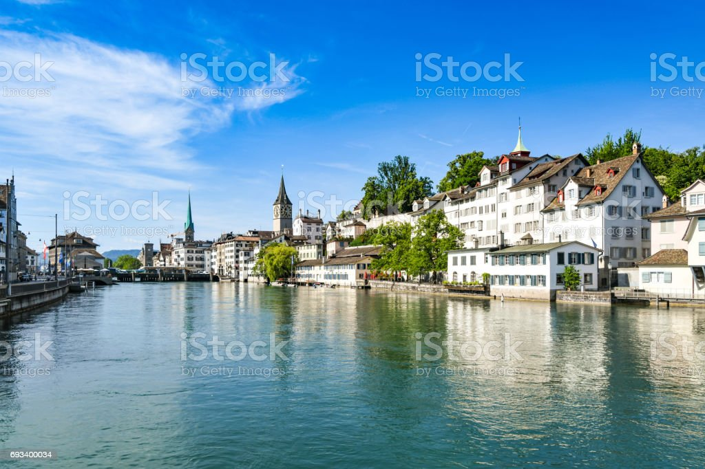 Zurich city centre over River Limmat stock photo
