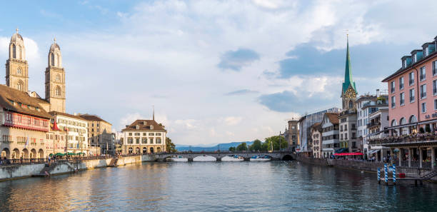 Zurich cityscape and Limmat River in Switzerland Zurich cityscape and Limmat River, Switzerland. fraumunster stock pictures, royalty-free photos & images