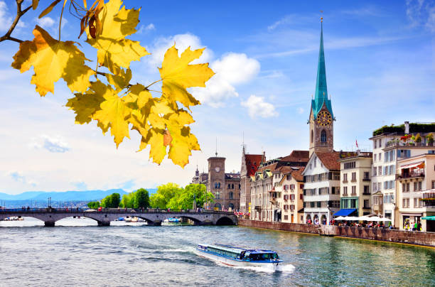 Zurich cityscape Quaibrucke bridge over the effluence of the Limmat river of Zurichsee in the municipality of Zurich limmat river stock pictures, royalty-free photos & images