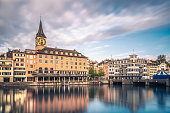 Zurich St Peterskirche Church by the Limmat river