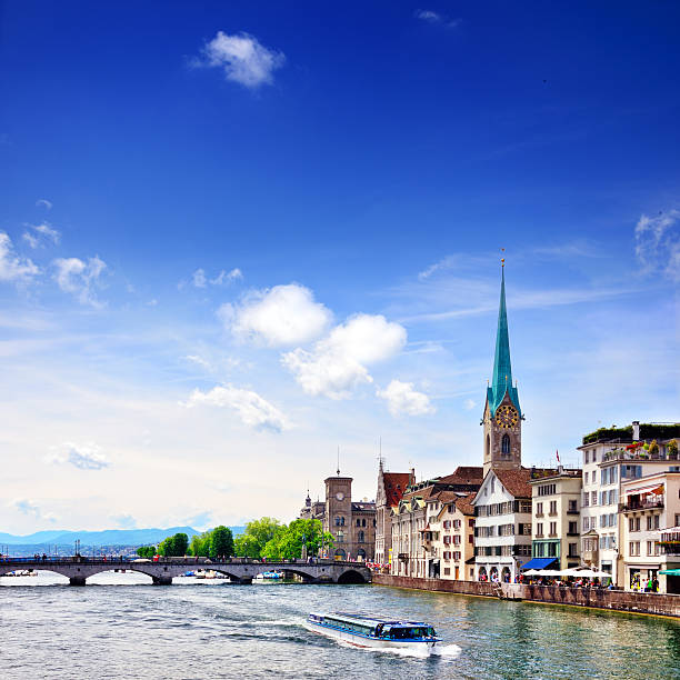 Zurich cityscape Quaibrucke bridge over the effluence of the Limmat river of Zurichsee in the municipality of Zurich. Composite photo fraumunster stock pictures, royalty-free photos & images