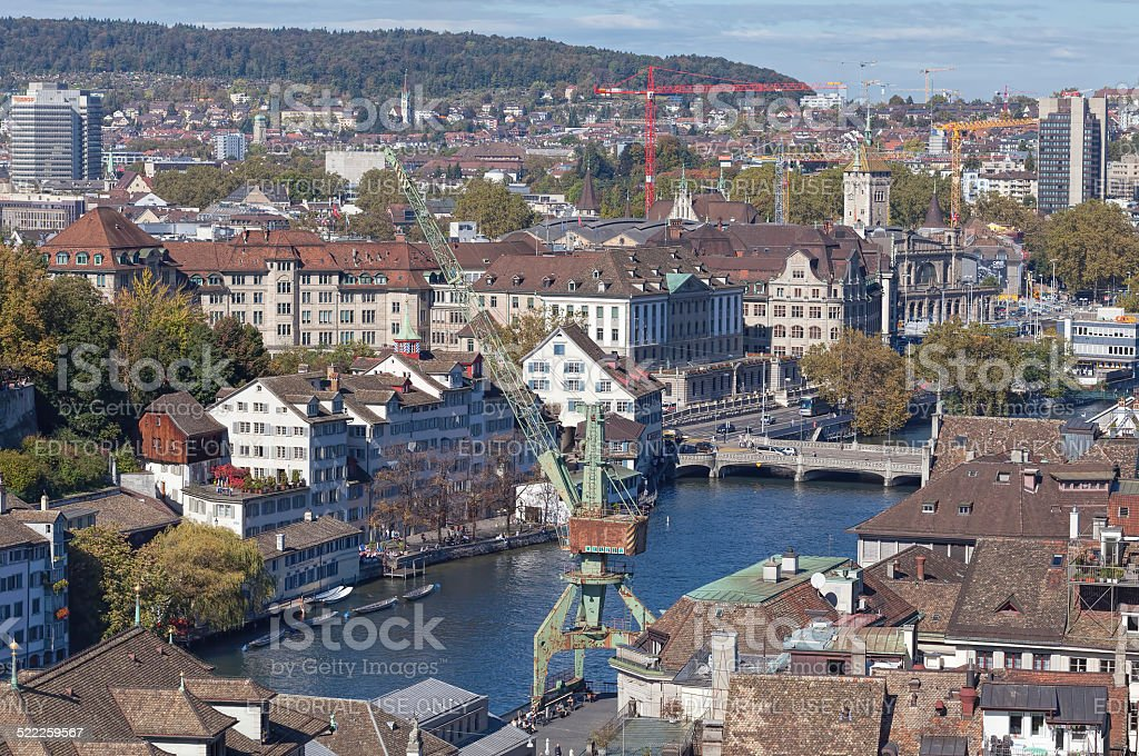 Zurich Cityscape with the Dockside Crane stock photo