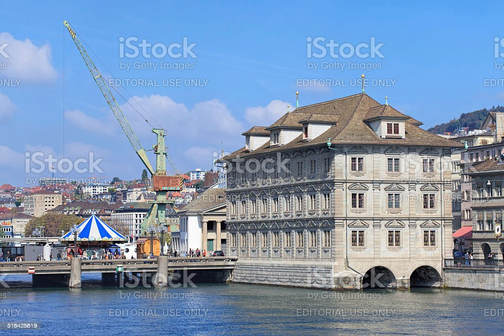 Zurich cityscape with the Rathaus building stock photo