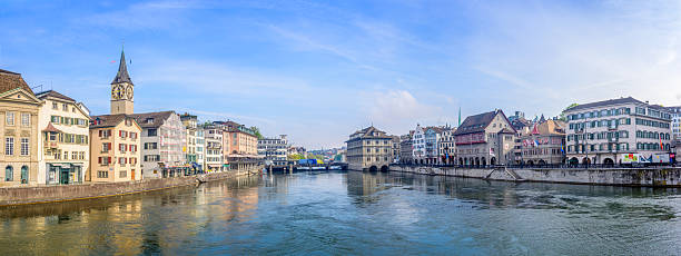 Zurich downtown, Switzerland Morning view of the Zurich downtown, panorama picture fraumunster stock pictures, royalty-free photos & images