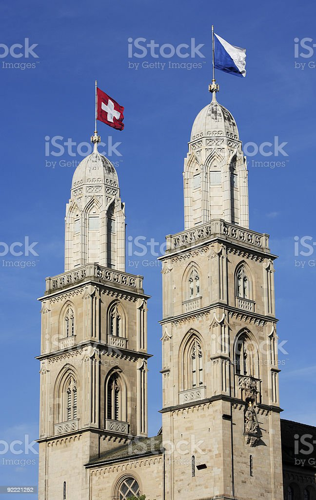 Zurich, Grossmunster Cathedral royalty-free stock photo