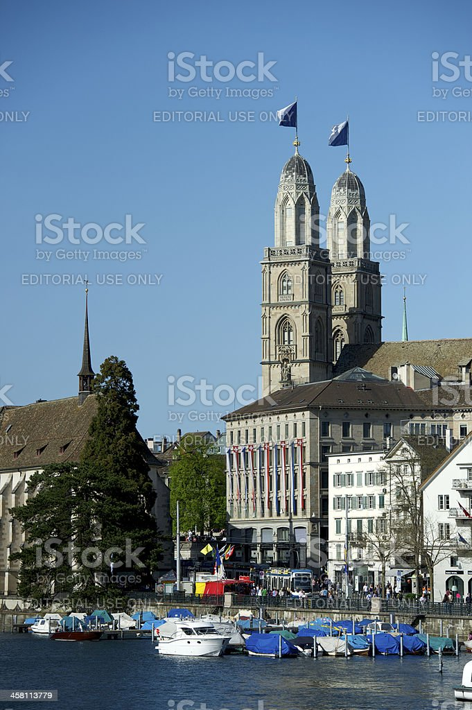 Zurich Grossmunster twin towers flagged royalty-free stock photo