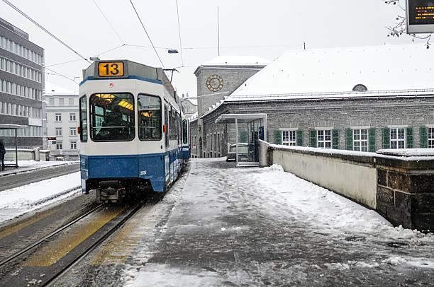 Zurich in Winter with Tram stock photo