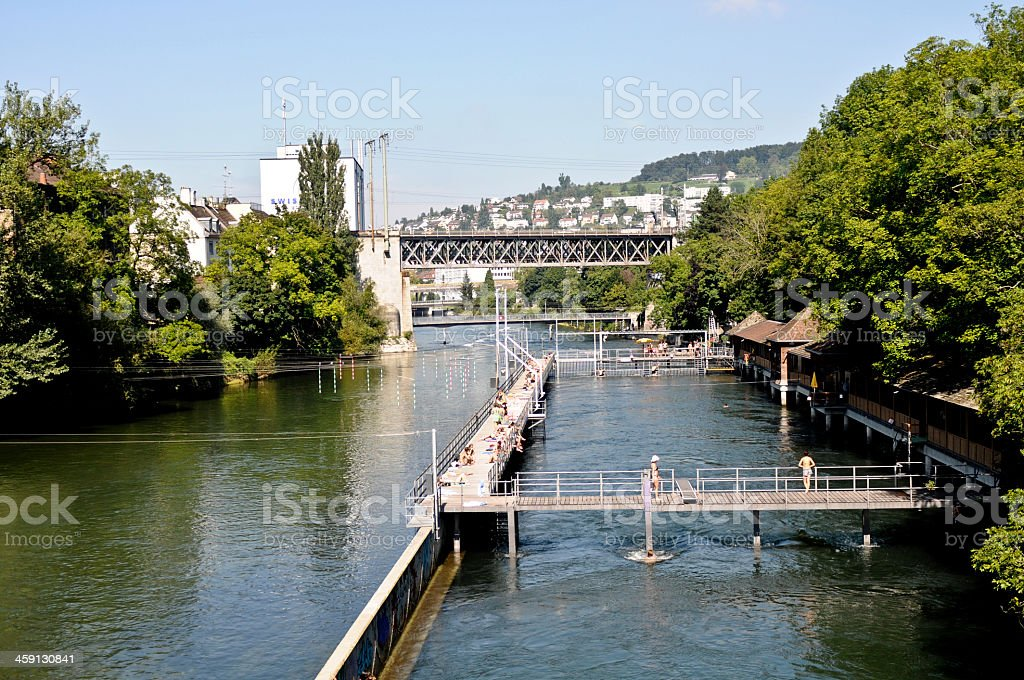 Zurich Letten Bad stock photo