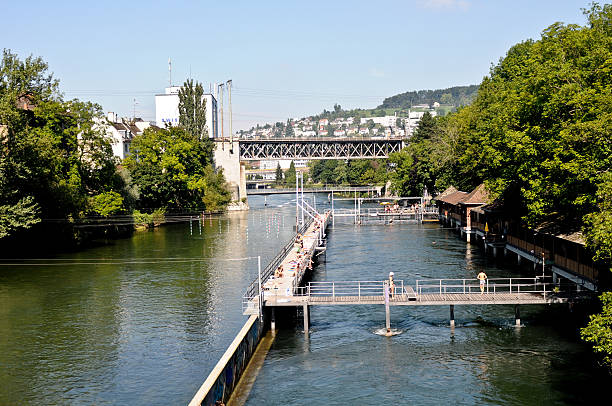 Zurich Letten Bad Freibad in der Limmat. limmat river stock pictures, royalty-free photos & images