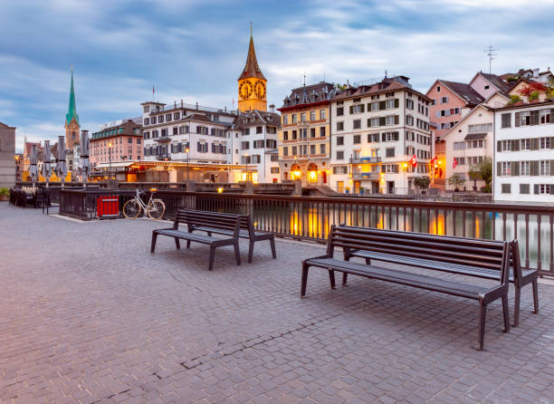 Zurich. Old city embankment and medieval houses at dawn. stock photo