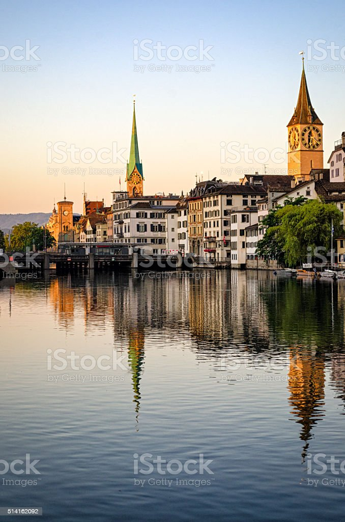 Zurich old town and Limmat river at sunrise (Switzerland) stock photo