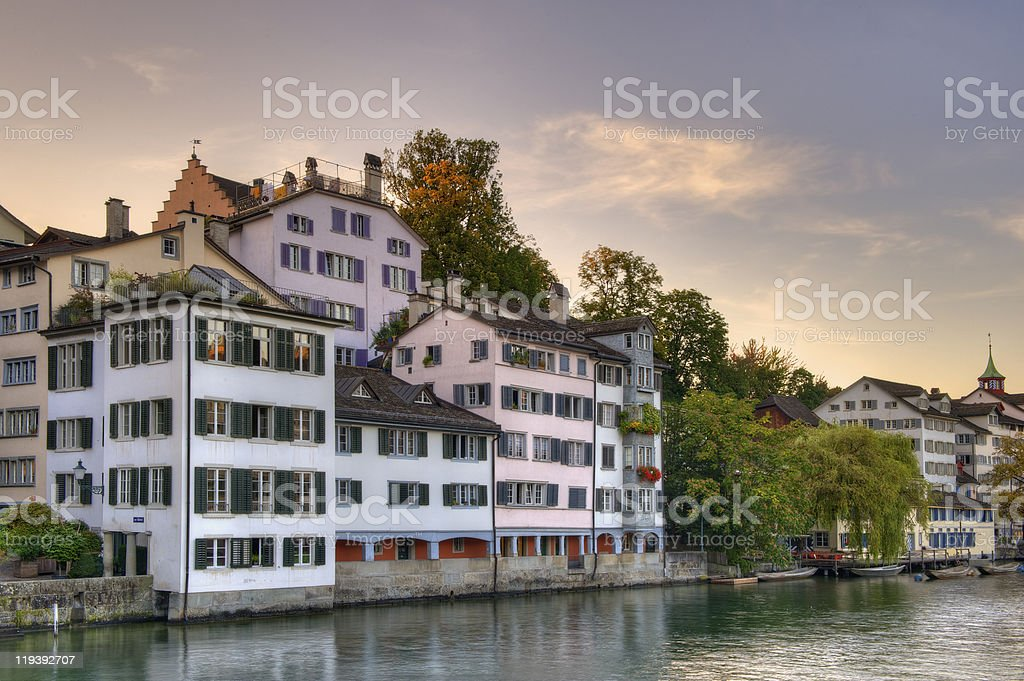Zurich old town at sunset royalty-free stock photo