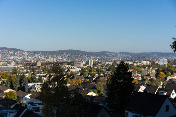 zurich outskirts panorama view with blue sky stock photo