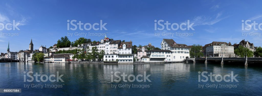 Zurich Panorama from River Limmat stock photo