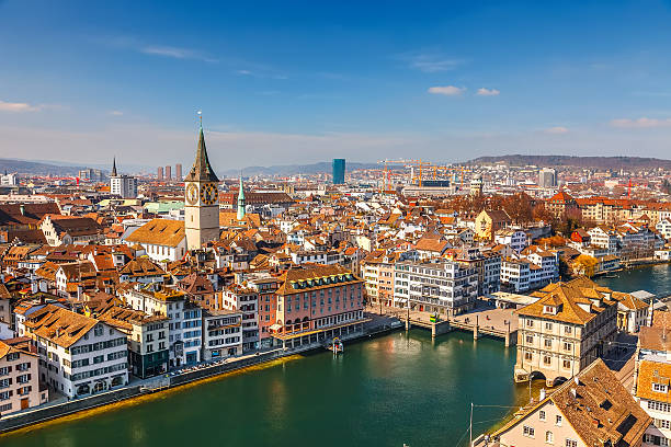 Zurich Downtown of Zurich at sunny day fraumunster stock pictures, royalty-free photos & images