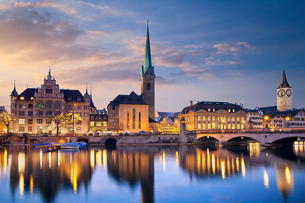 Zurich. Image of Zurich, capital of Switzerland, during dramatic sunset. zurich stock pictures, royalty-free photos & images
