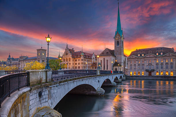 Zurich. Cityscape image of Zurich, Switzerland during dramatic sunset. zurich stock pictures, royalty-free photos & images