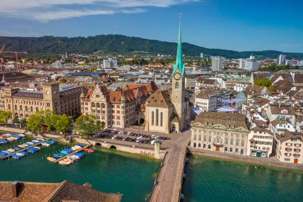 Zurich. Zurich. Aerial image of Zurich, Switzerland during sunny summer morning. fraumunster stock pictures, royalty-free photos & images