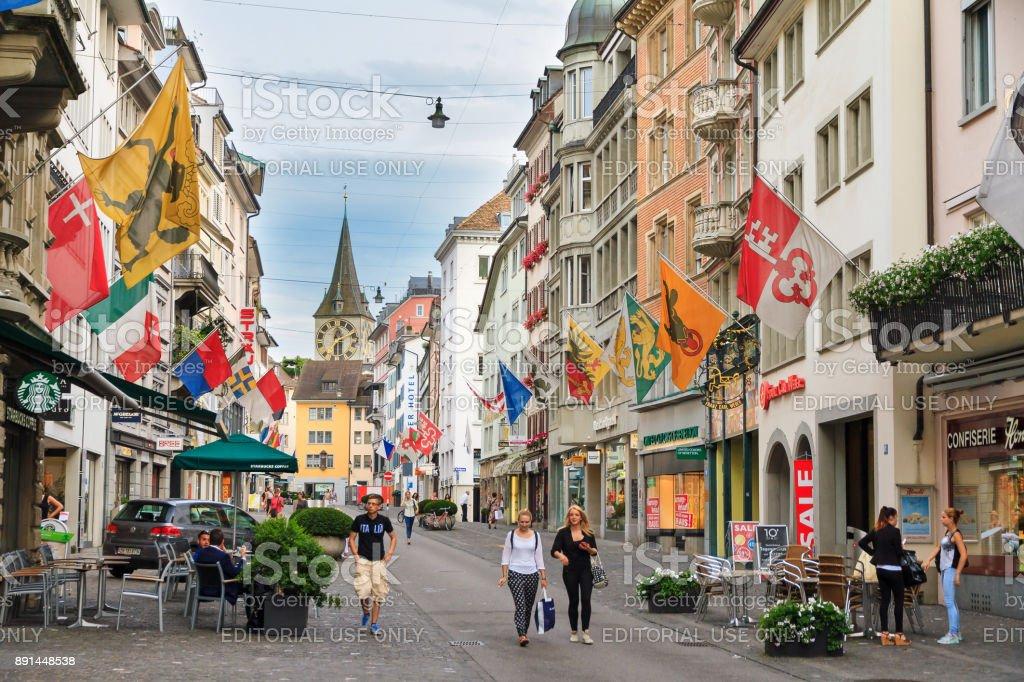 Zurich shopping street stock photo