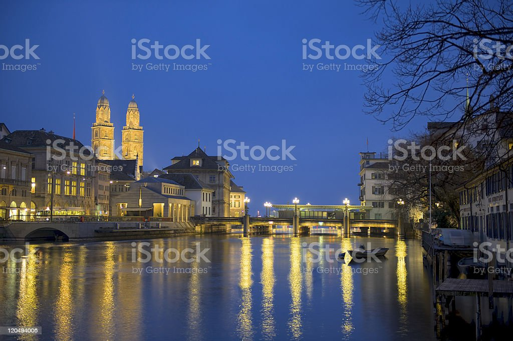 Zurich sightseeing Grossmunster at twilight royalty-free stock photo