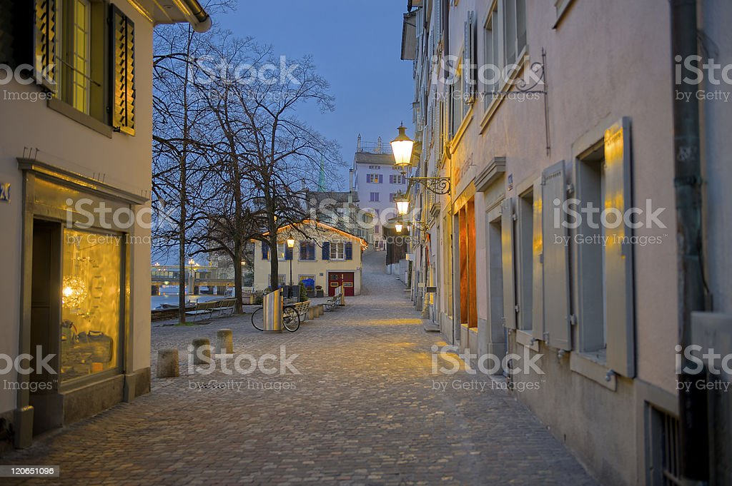 Zurich sightseeing old town alley royalty-free stock photo