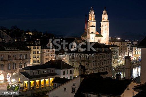 Zurich skyline with Grossmünster church