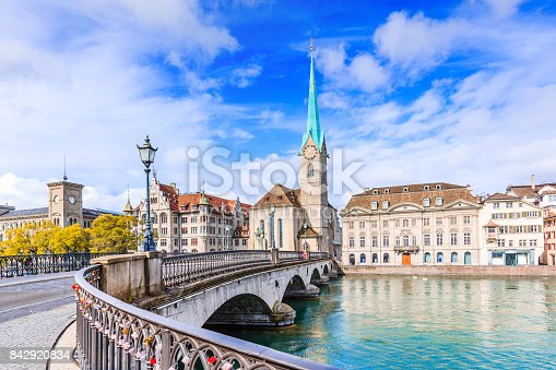 Zurich, Switzerland. View of the historic city center with famous Fraumunster Church, on the Limmat river.