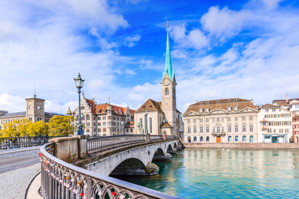 Zurich, Switzerland. Zurich, Switzerland. View of the historic city center with famous Fraumunster Church, on the Limmat river. fraumunster stock pictures, royalty-free photos & images