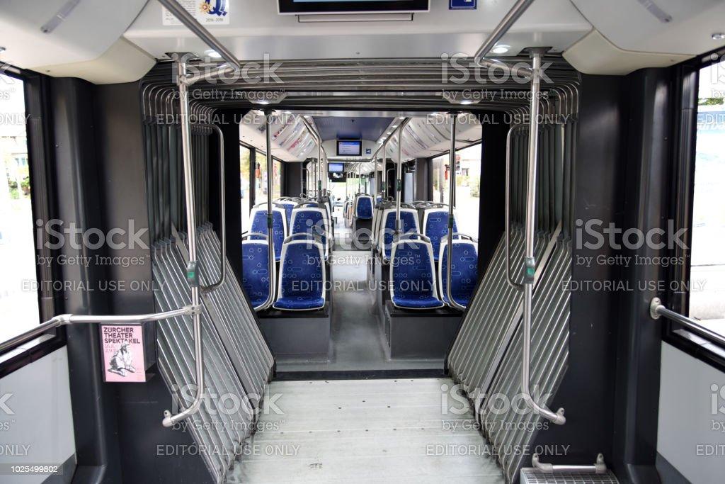 Zurich Trolleybus inside view stock photo