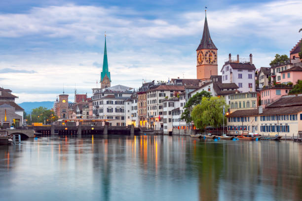 Zurich. View of the city embankment and the facades of old houses. stock photo