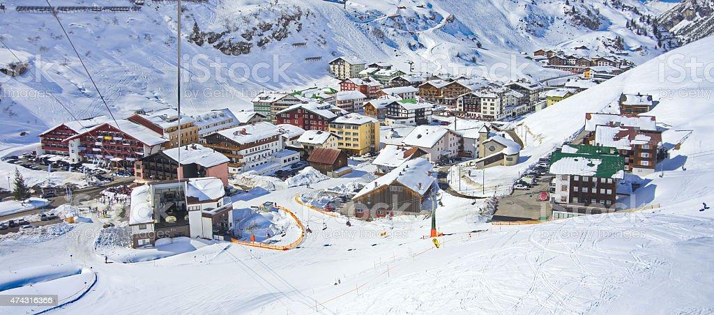 Zurs hamlet and Lech ski resort in Austria stock photo