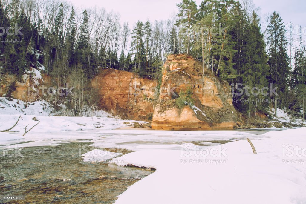 Zvarte rock at the river Amata in Latvia royalty-free 스톡 사진