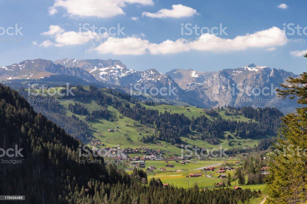 Zweisimmen, Bernese Oberland, spring afternoon, sunlight, mounta royalty-free stock photo