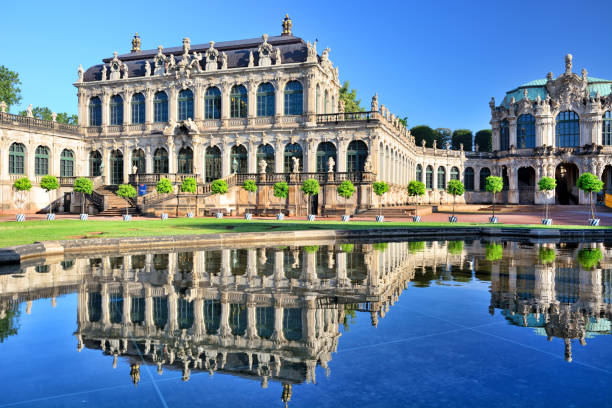Zwinger in Dresden, Germany The Zwinger museum complex designed by architect Matthäus Daniel Pöppelmann in 1710-1728 in Dresden, Germany zwanger stock pictures, royalty-free photos & images