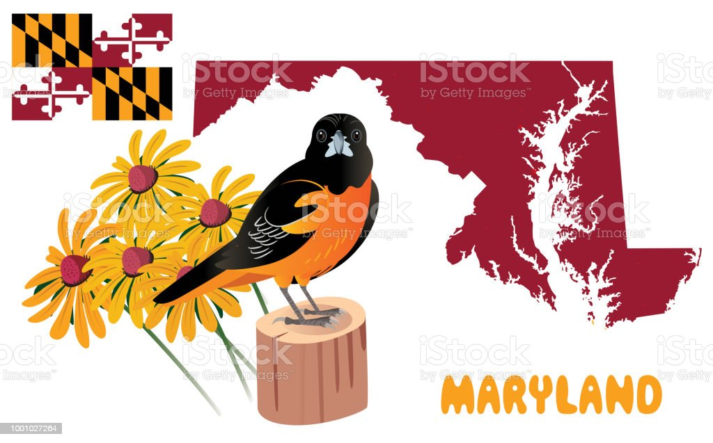 MARYLAND MAP vector art illustration