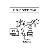 CLOUD COMPUTING CONCEPT LINE ICONS