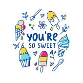 You are so sweet, vector greeting card