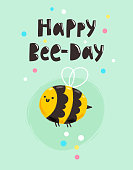 Happy bee-day, fun birthday vector greeting card