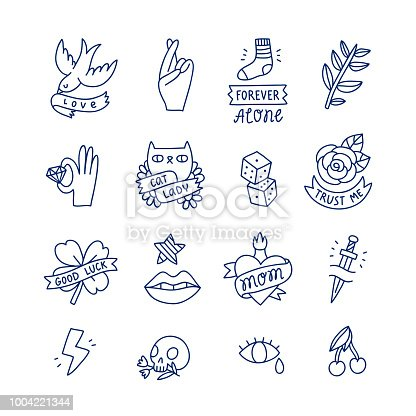 Cool doodle tattoo set, isolated vector illustrations