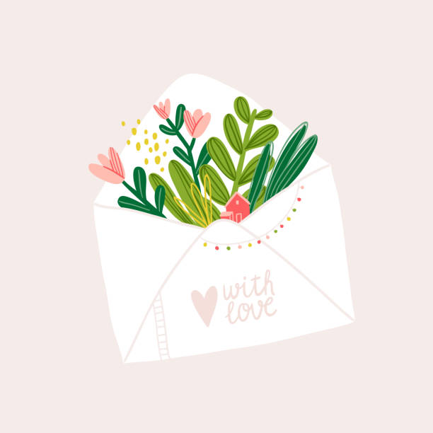 Для стоковых работ Letter note cute vector illustration comfort stock illustrations