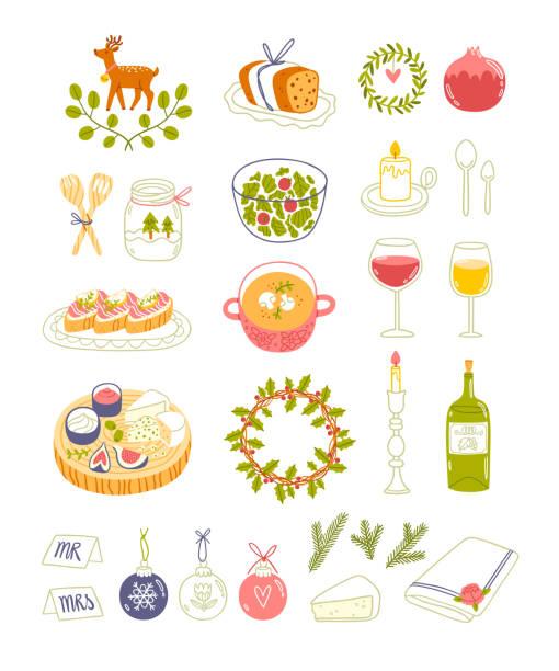 Для стоковых работ Winter dinner party vector illustrations, isolated on white christmas dinner stock illustrations